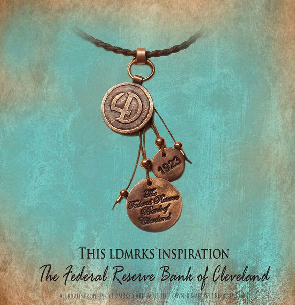 LDMRKS Federal Reserve Bank of Cleveland 4D Copper Pendant with charms - FRBC4DN