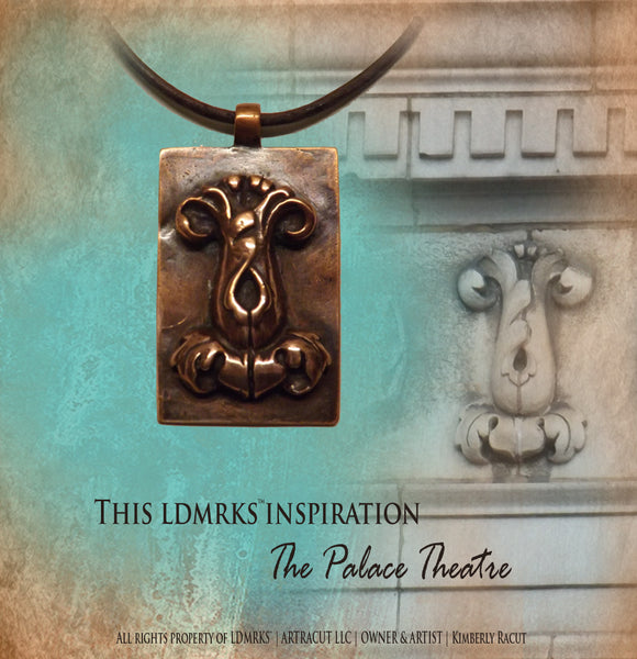 LDMRKS Palace Theatre Copper Pendant PTN-II with Genuine Natural Grey Necklace