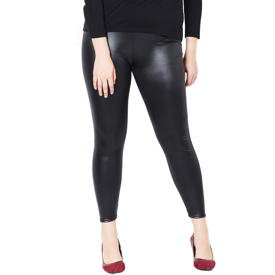 PLUS-SIZED FAUX LEATHER STRETCH LEGGINGS