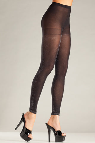 BW697 Footless Pantyhose - Black-Silver