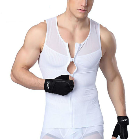 Men's Shapewear Vest with Zipper and Buckle