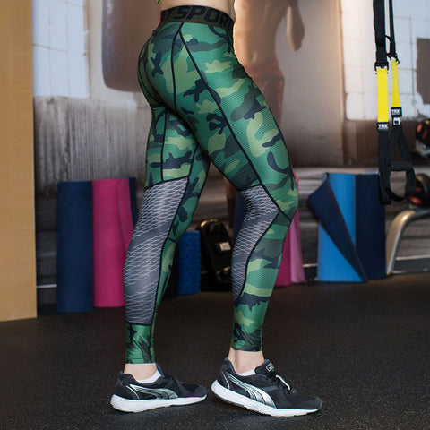 Camouflage Men Compression Tights Leggings Gym Clothing Pants Fitness Jogger
