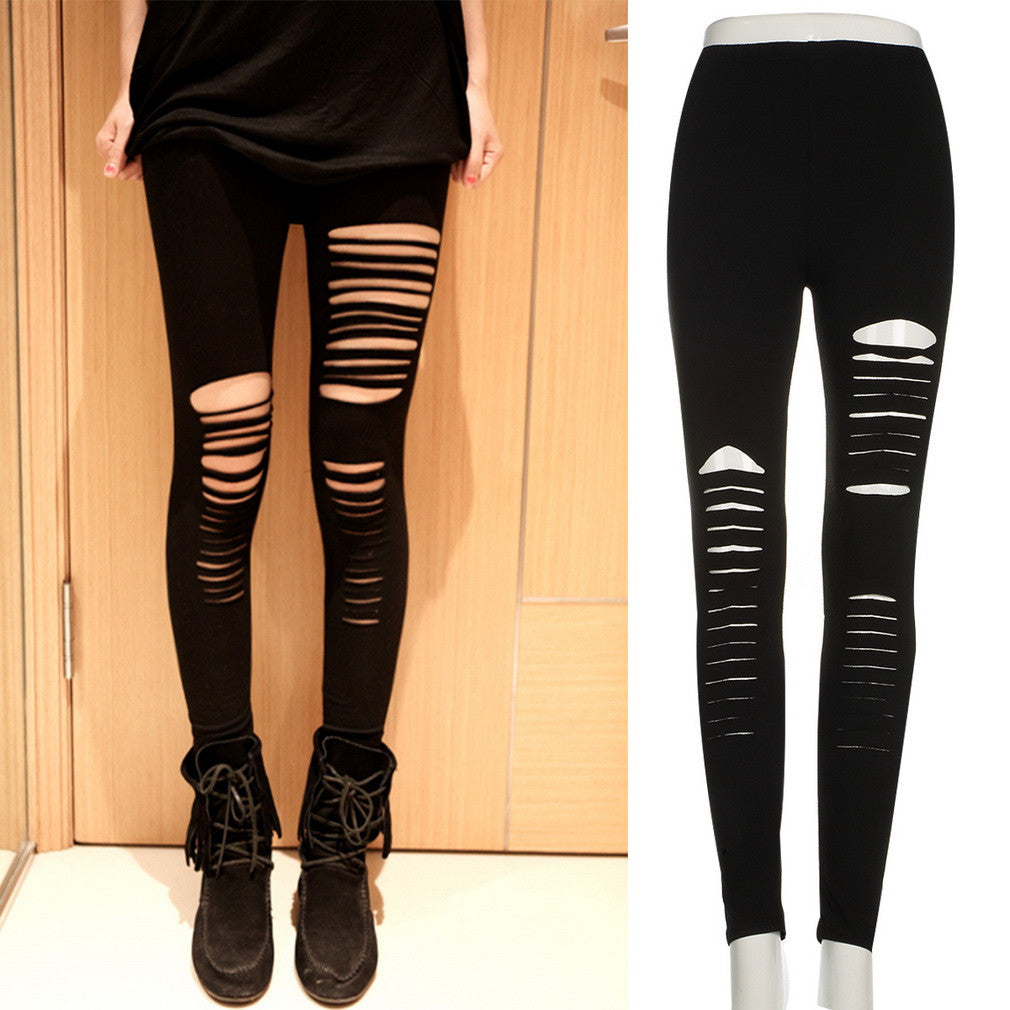 Elastic Black Ripped Leggings