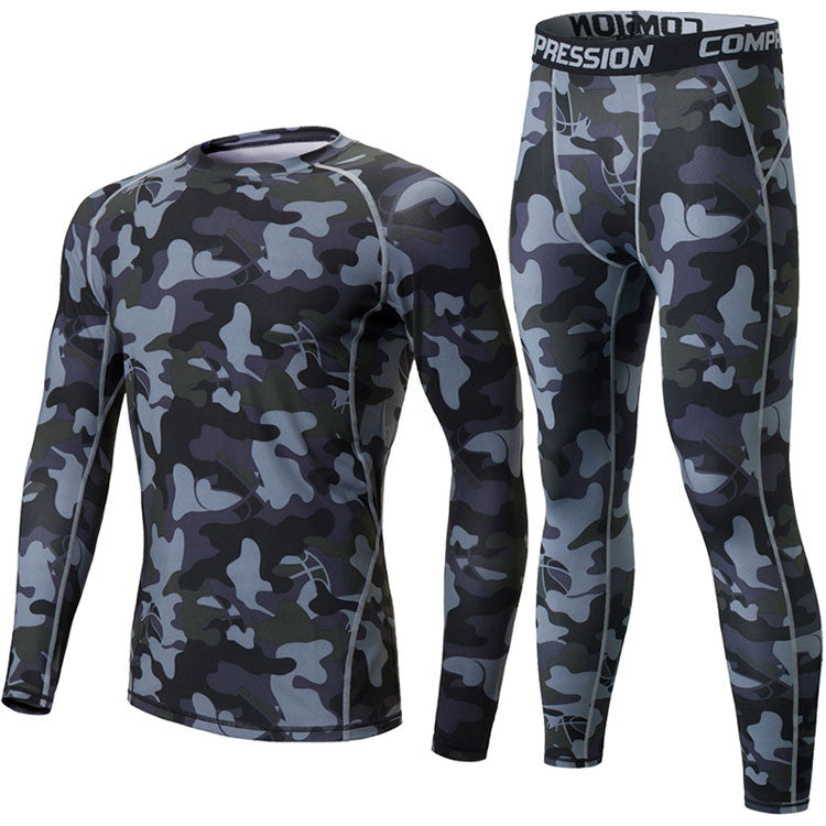 Camouflage Mens Compression sets T-shirt Long Sleeve Fitness Men