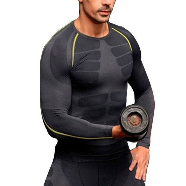 Men Compression Top Long Sleeve Tight Skinny Shirt Base Layer Quick Dry