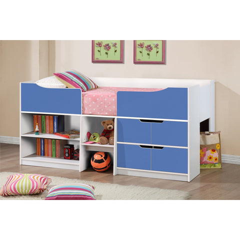 Birlea White and Blue Paddington Cabin Bed with storage shelves - Children's Furniture Store.