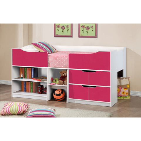 Birlea White and Pink Oak Paddington Cabin Bed with storage shelves - Children's Furniture Store.