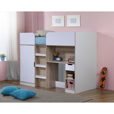 Birlea White and Light Oak Paddington High Sleeper with storage and desk - Children's Furniture Store.