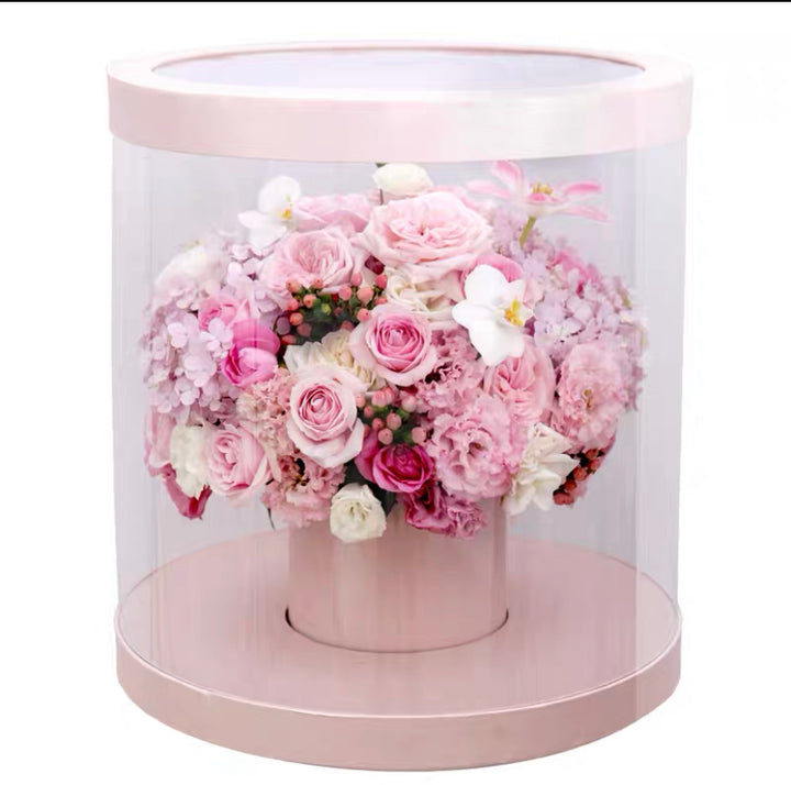 Transparent Flower gift bucket.
