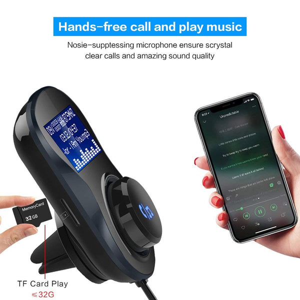 iSunnao Bluetooth FM Transmitter Receiver Dual USB Car Charger