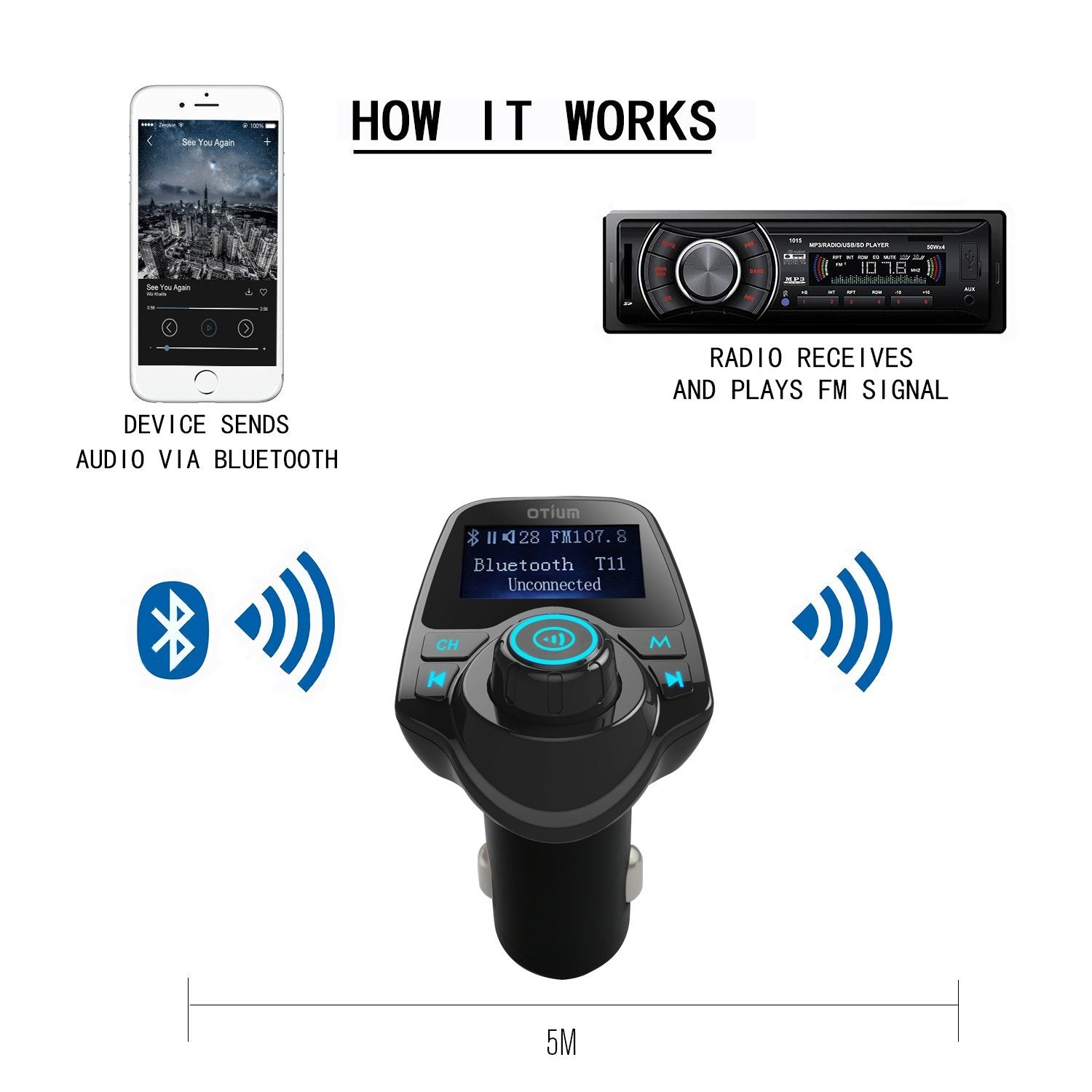 isunnao bluetooth receiver fm radio transmitter car kit. Black Bedroom Furniture Sets. Home Design Ideas