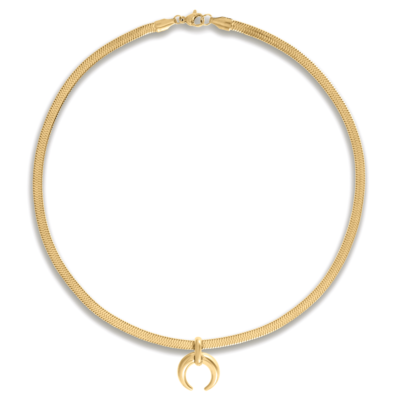 ELLIE VAIL - CICI HERRINGBONE CHAIN CRESCENT NECKLACE