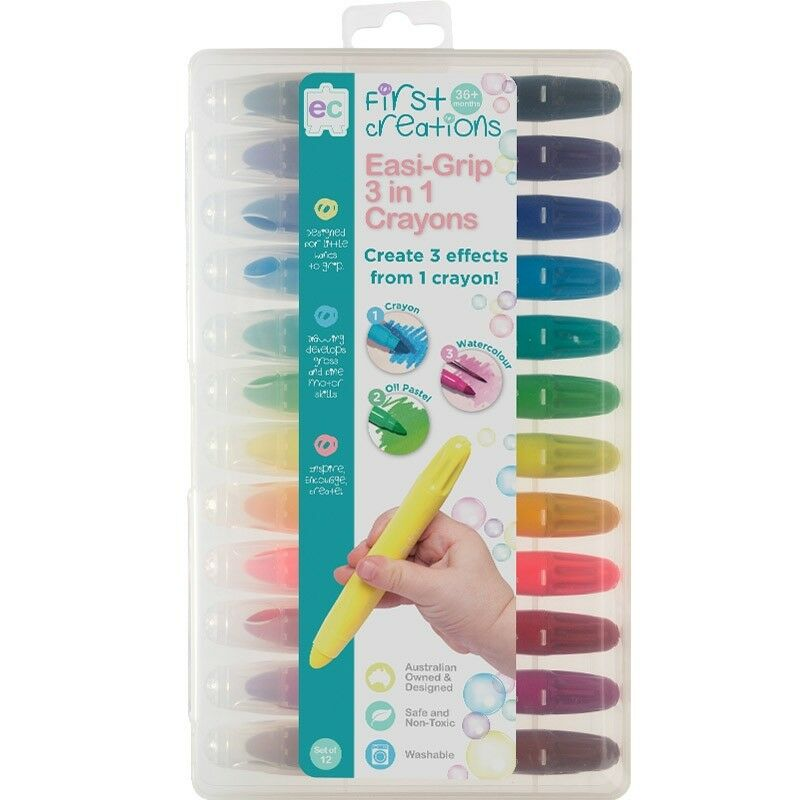First Creations Easi-Grip 3 In 1 Crayons - Set Of 12