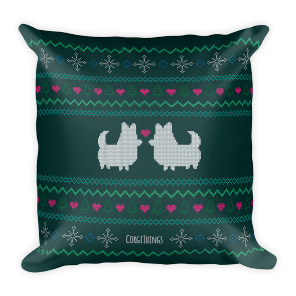 """Corgmas Sweater"" Corgis with Tails 18x18 Square Pillow 