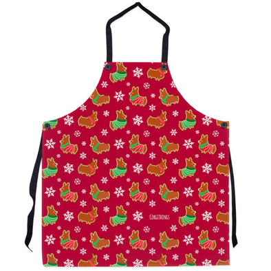 """Gingerbread Corgis"" Red Apron 