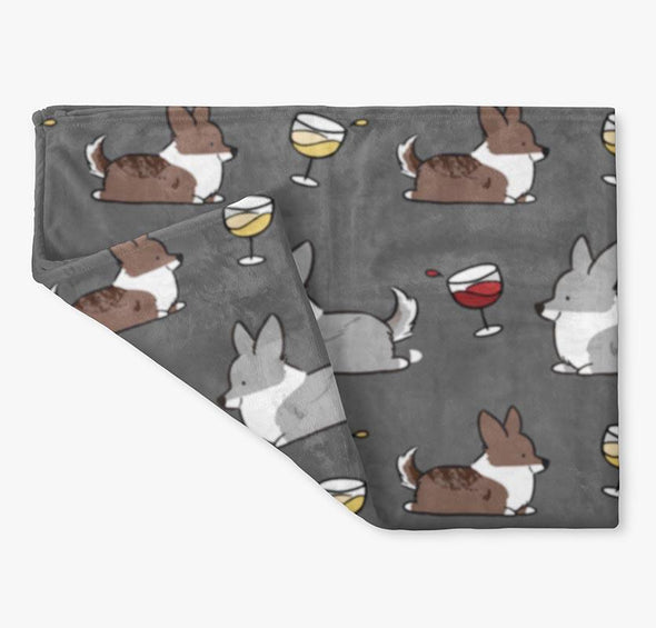 Cardigan Corgis & Wine Fleece Blanket | 3 Sizes