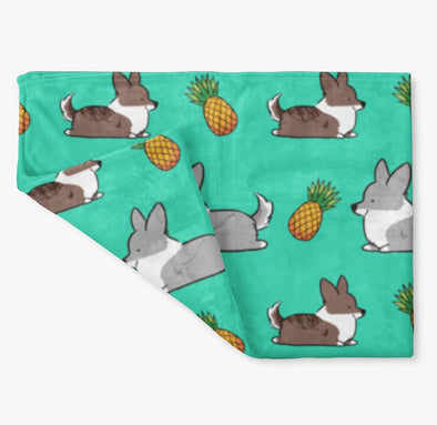 Pineapple Cardigan Corgi Fleece Blanket | 3 Sizes