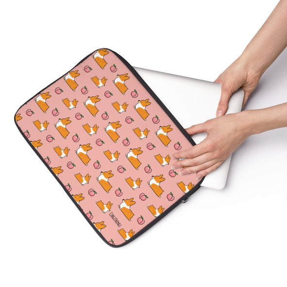 Corgi Peach Sploot Laptop Sleeve | 3 Sizes