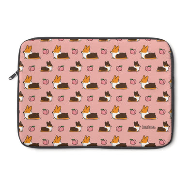 Tricolor Corgi Peach Sploot Laptop Sleeve | 3 Sizes Available