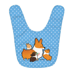 Corgi Mom & Puppies Fleece Baby Bib | Blue Polka Dots