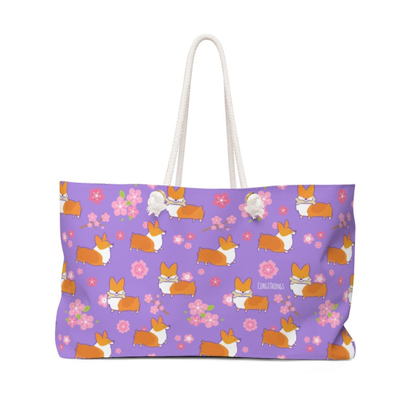 """Cherry Blossom"" Corgis Oversized Tote Bag 