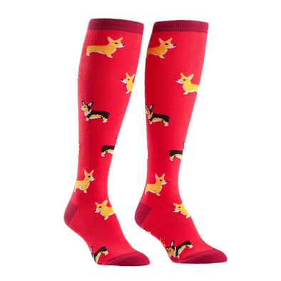 Red Women's Knee High Corgi Socks