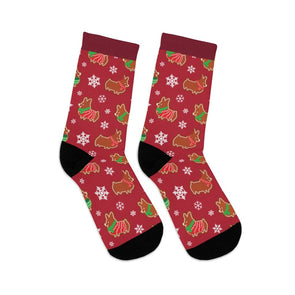 "NEW! ""Gingerbread Corgis"" Red Socks"