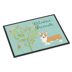 Caroline's Treasures Welcome Friends Pembroke Welsh Corgi Red Doormat, 18hx27w