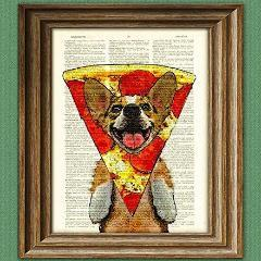 Pizza Corgi! dictionary page book art print