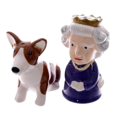 Salt & Pepper Condiment Set Queen & Corgi