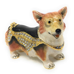 Enameled Pembroke Welsh Corgi Trinket Box