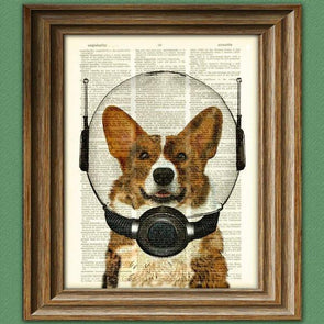 Space Corgi. dictionary page book art print