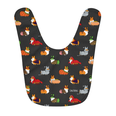 """Corgis in Costumes"" Fleece Baby Bib 