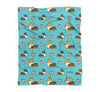 Blue Tricolor Corgi Sploot Fleece Blanket | 3 Sizes