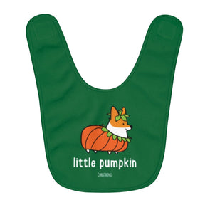 """Little Pumpkin"" Corgi Fleece Baby Bib"
