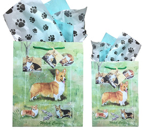 Welsh Corgi Gift Bags Set of Two with Tissue Paper