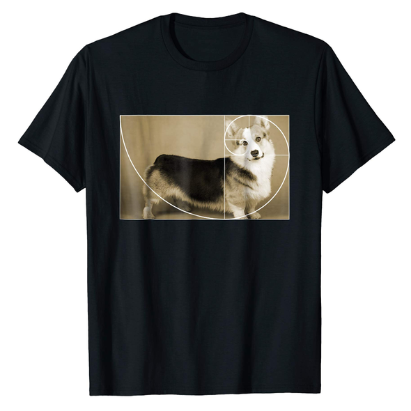 Golden Ratio Corgi T-Shirt Fibonacci Spiral