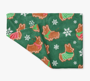 """Gingerbread Corgis"" Green Fleece Blanket 
