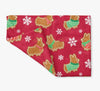 """Gingerbread Corgis"" Red Fleece Blanket 