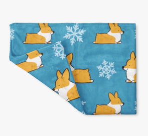 "NEW! ""Let It Snow"" Red Corgi Fleece Blanket 