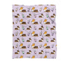Lavender Bubble Tea Tricolor Corgi Fleece Blanket | 3 Sizes