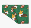 Tricolor Football Corgis Fleece Blanket | 3 Sizes