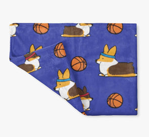 NEW! Tricolor Basketball Corgis Fleece Blanket | 3 Sizes