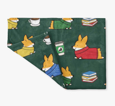 "NEW! ""Cozy Corgis"" Fleece Blanket 