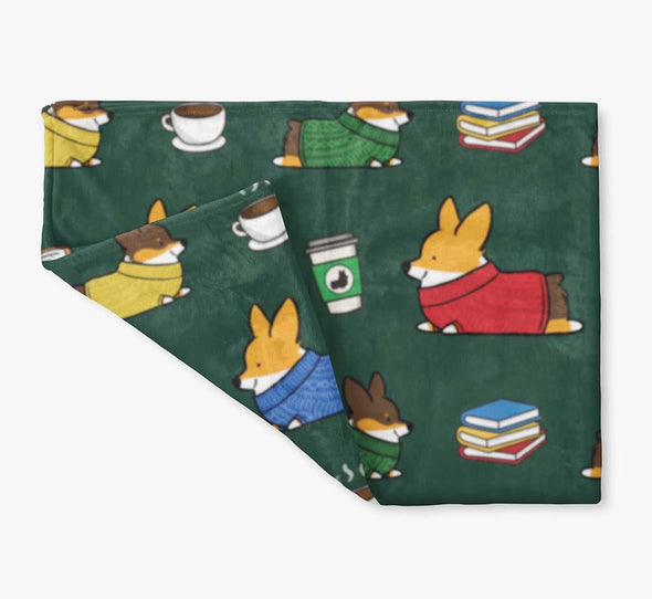 """Cozy Tricolor Corgis"" Fleece Blanket 