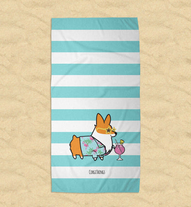 "NEW! ""Aloha Flamingo"" Corgi Beach Towel"