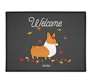 """Welcome Autumn"" Corgi Floor Mat"