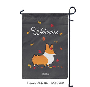 """Welcome Autumn"" Corgi Garden Flag"