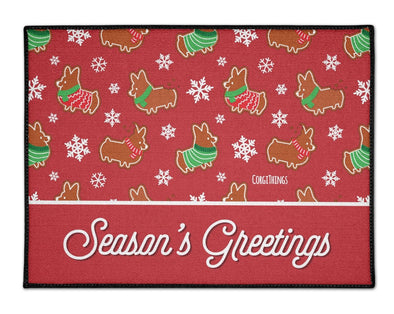 """Gingerbread Corgis"" Red Floor Mat 