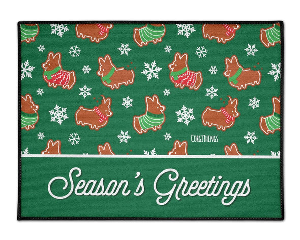 """Gingerbread Corgis"" Green Floor Mat 